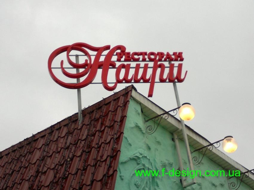 объемные буквы на каркасе крышная установка